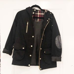 Topshop Black Fall Jacket with Flannel Hood